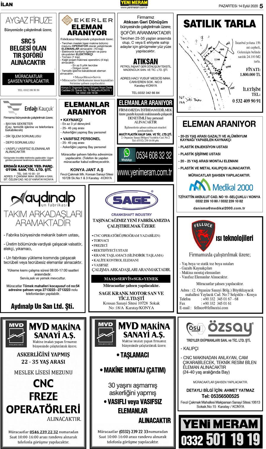 13 Eylül 2020 Yeni Meram Gazetesi - Sayfa 5 / 16 - Yeni Meram