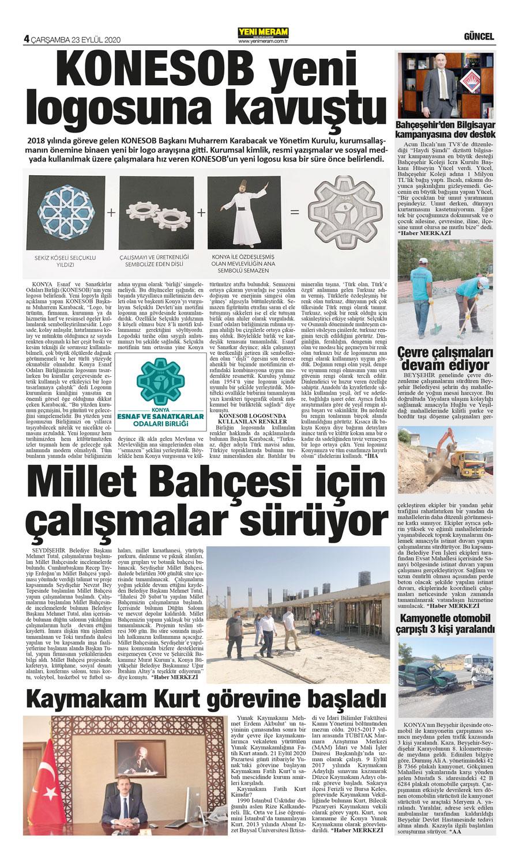 23 Eylül 2020 Yeni Meram Gazetesi - Sayfa 4 / 16 - Yeni Meram
