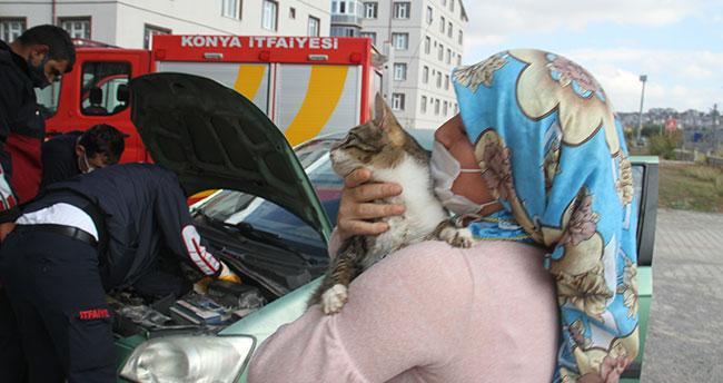 Konya'da girdiği otomobilin motor bölümünde mahsur kalan kediyi itfaiye ekipleri kurtardı