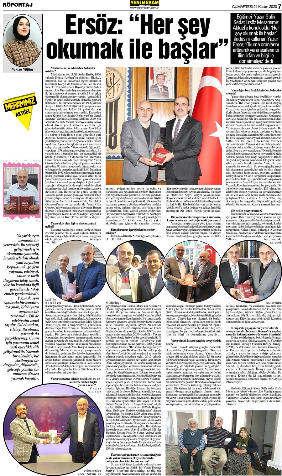 21 Kasım 2020 Yeni Meram Gazetesi - Sayfa 7 / 16 - Yeni Meram