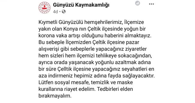 Konya'nın Çeltik ilçesinde Kovid-19 vakaları arttı! Komşu ilçe kaymakamlığı vatandaşları uyardı