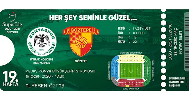 Konyaspor- Göztepe maçı için hatıra biletler satışta