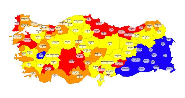 81 ilin koronavirüs risk haritası paylaşıldı