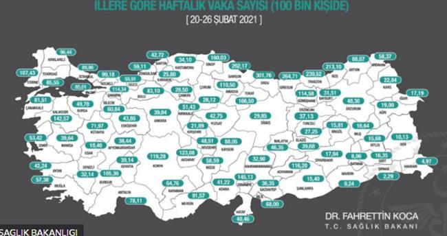 Haftalık Kovid-19 vaka sayıları Doğu ve Güneydoğu'da düşük Karadeniz'de yüksek seyrediyor! Konya 11. sıraya yükseldi