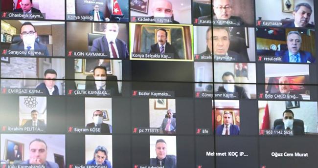 Konya Valisi Özkan, kaymakamlar ve oda başkanları ile tedbirleri görüştü