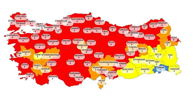 Risk haritası yayınlandı! İşte kırmızıya dönen iller